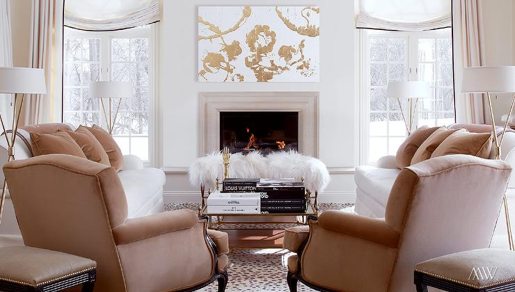 White And Camel Living Room Contemporary Living Room