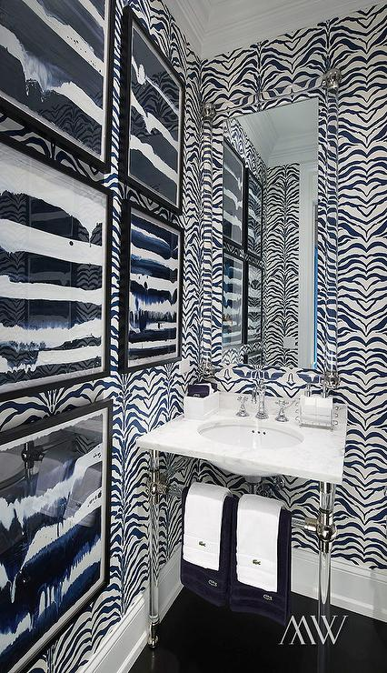 Powder room with black and white zebra wallpaper