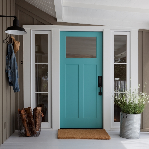 Turquoise Front Door - Cottage - Home Exterior