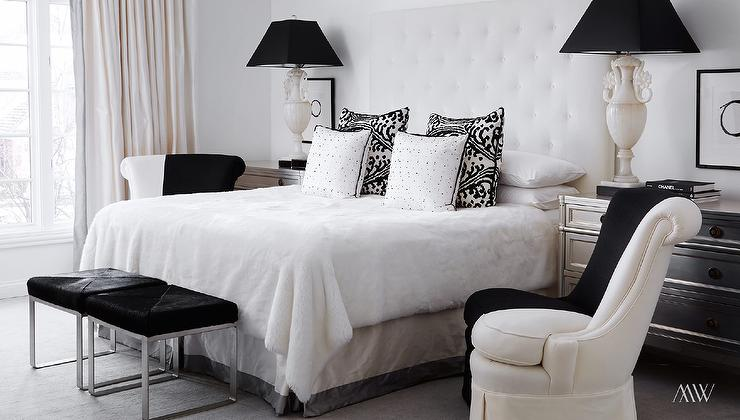 feminine bedroom chairs white furniture black metal nightstands