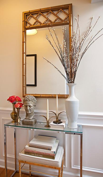 Foyer Mirror Table : Glass top foyer table with gold bamboo mirror