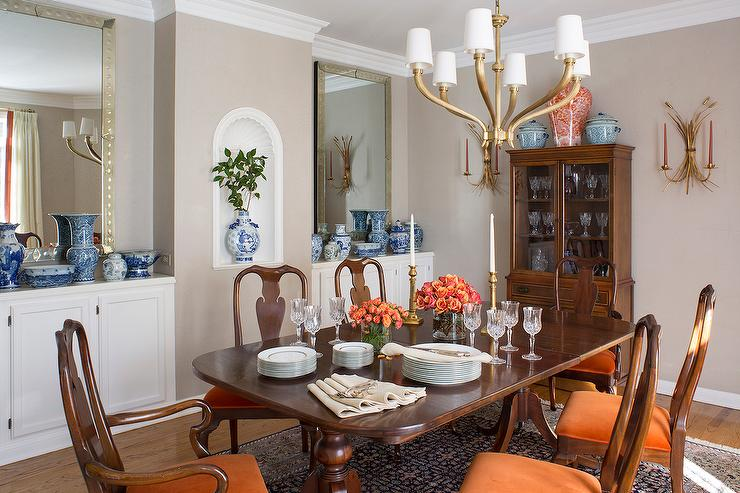 Chippendale dining room chairs transitional dining for Orange and grey dining room