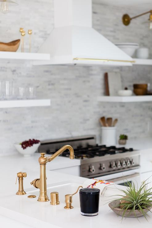 Kitchen peninsula sink with vintage brass faucet for Floating kitchen sink