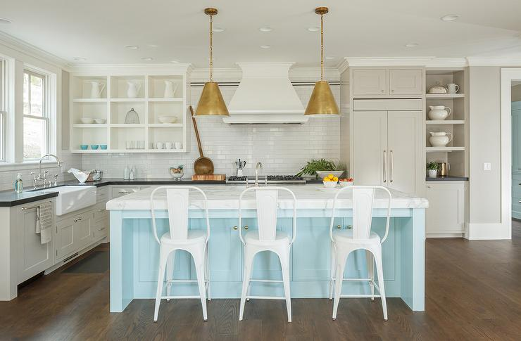 Light Blue Kitchen White Cabinets