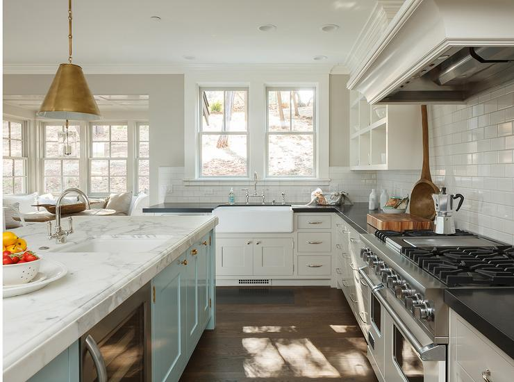 Light Grey Kitchen White Cabinets kitchen with light grey perimeter cabinets - transitional - kitchen