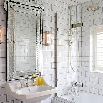 Claw foot tub and exposed plumbing shower kit cottage - White subway tile with black grout bathroom ...