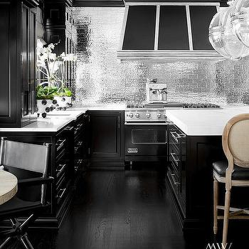 Black Kitchen With Silver Subway Tile Backsplash