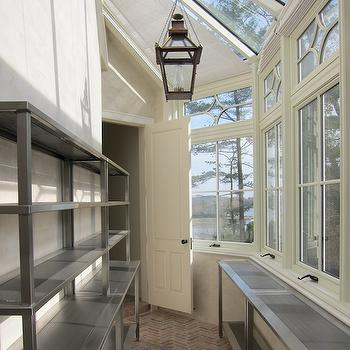 butlers pantry with lots of windows