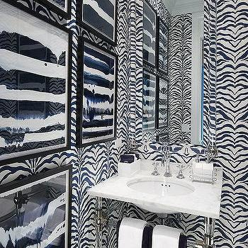 Powder Room With Black And White Zebra Wallpaper Great Ideas