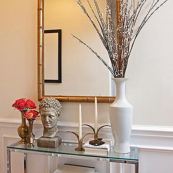 Glass Top Foyer Table With Gold Bamboo Mirror