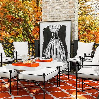 deck wrought iron table. Orange And Black Deck Design Wrought Iron Table I