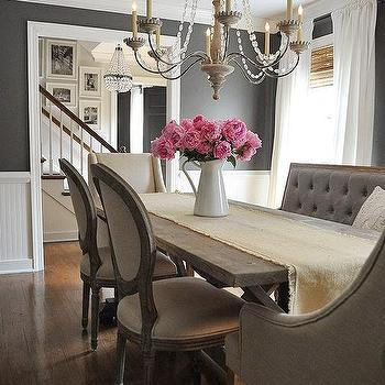 Gray Tufted Dining Bench