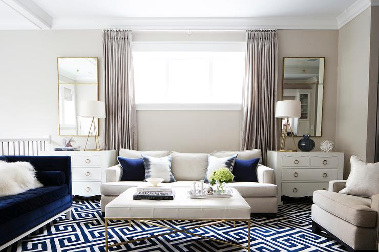 navy and white living room. Navy Living Room Accents  Transitional
