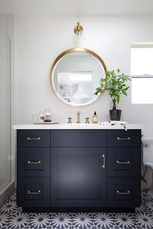 Navy Bathroom Vanity With White Quartz Countertop Transitional