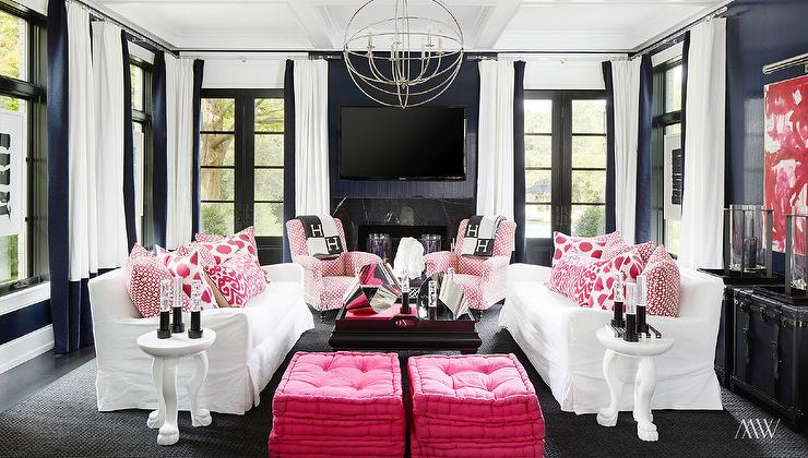 Pink And Navy Rooms Contemporary Living Room