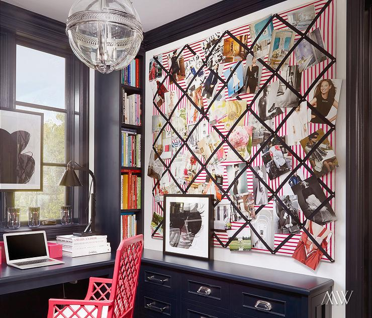 Navy Office With Ribbon Bulletin Board Contemporary