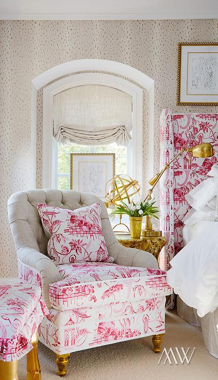 Pink And Green Toile Fabric Design Ideas