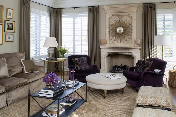purple velvet accent chairs - transitional - living room