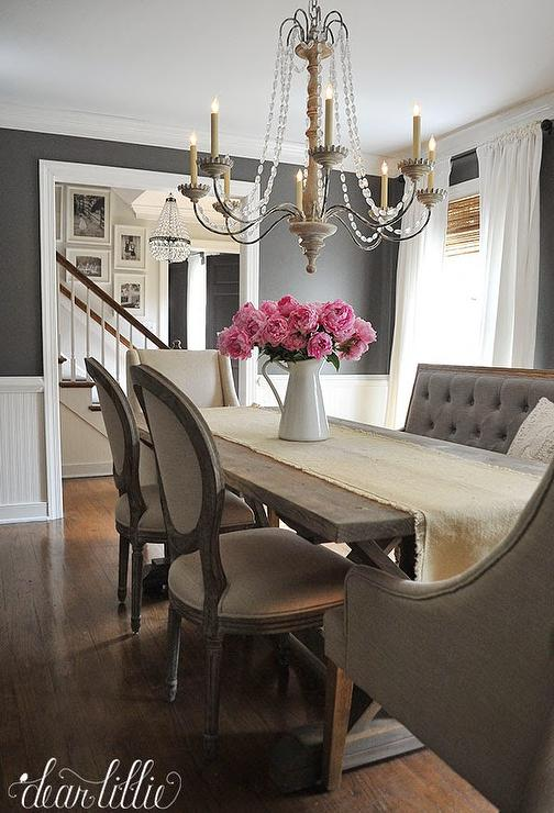 Gray Tufted Dining Bench French Dining Room Benjamin