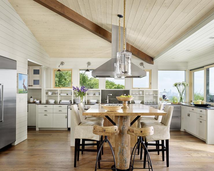 Glass And Rope Pendants Cottage Kitchen