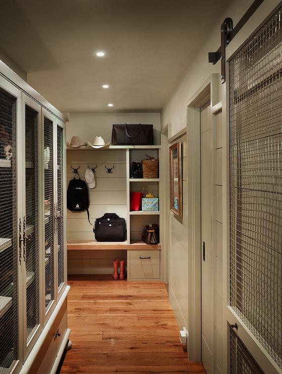 Mudroom With Chicken Wire Cabinets Cottage Laundry Room