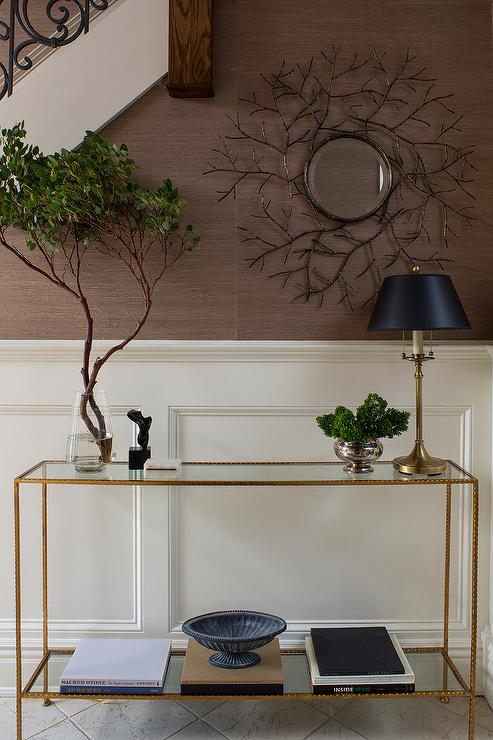 Brass And Glass Console Table Design Ideas