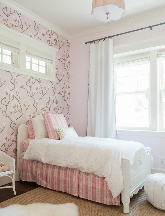 White and pink striped wallpaper design ideas for Girls bedroom wallpaper ideas