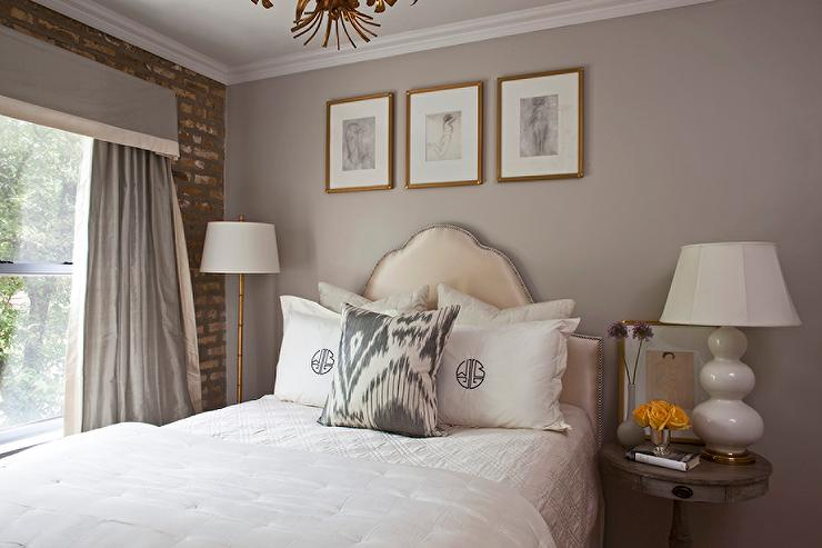 chic grey bedrooms with yellow accents - transitional