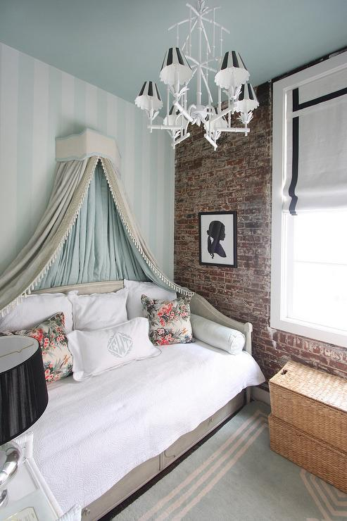 Daybed With Tasseled Canopy Eclectic Bedroom
