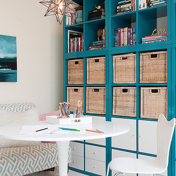Blue Bookcase blue lacquered office bookcase design ideas