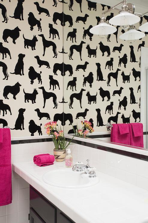 Bathroom With Madison Humphrey Dog Flock Velvet Wallpaper