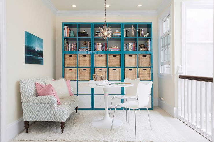 Office With Blue Lacquer Bookcases Contemporary Den