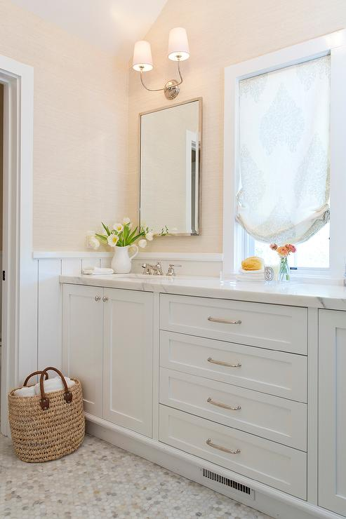 white and cream bathroom design transitional bathroom