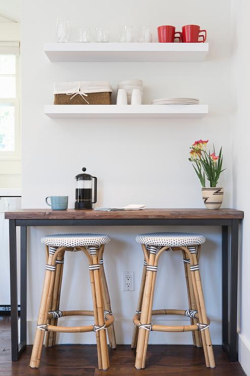 Wood And Iron Bar Table With French Bistro Stools