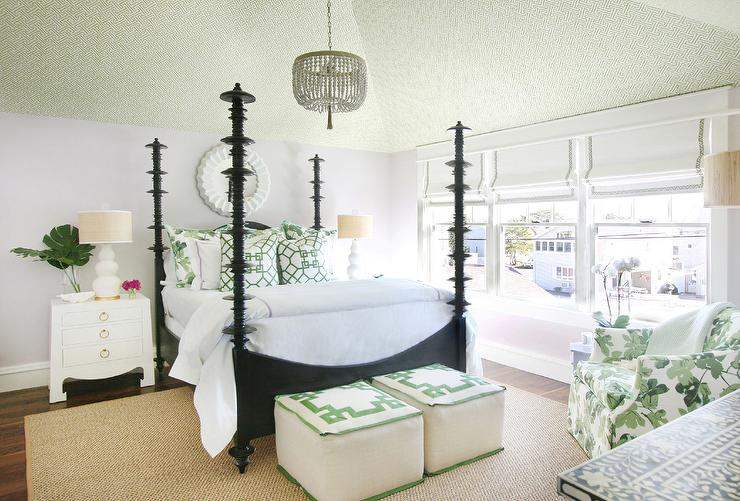 Wallpapered Vaulted Ceiling Transitional Bedroom
