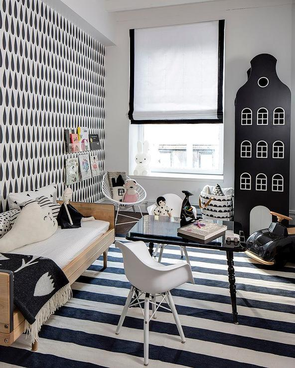 Kids Bedroom Black And White blue and black kids bedroom with black and white graphic painted