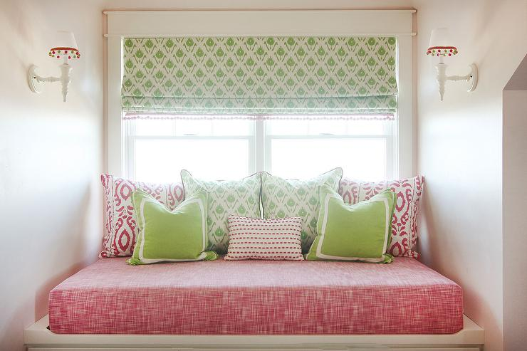 Stupendous Pink And Green Window Seat Transitional Girls Room Customarchery Wood Chair Design Ideas Customarcherynet