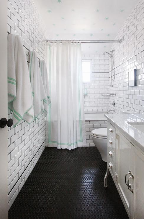 White Bathroom With Black Hex Tiles Floor Cottage Bathroom