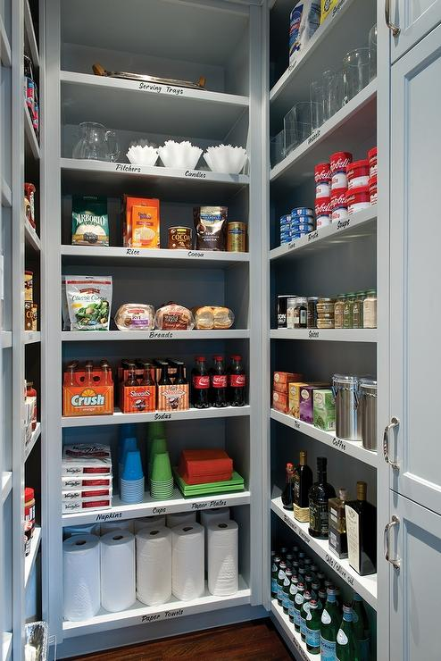 Walk in pantry with gray shelves transitional kitchen for Walk in pantry