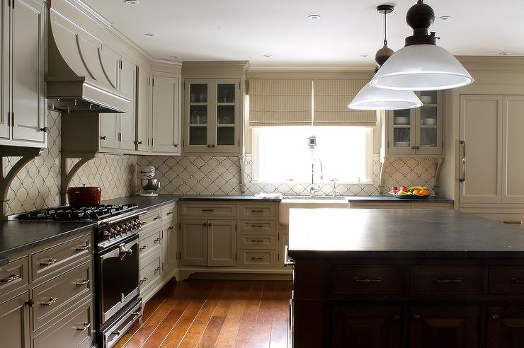 Cream Arabesque Kitchen Backsplash Tiles  Transitional  Kitchen
