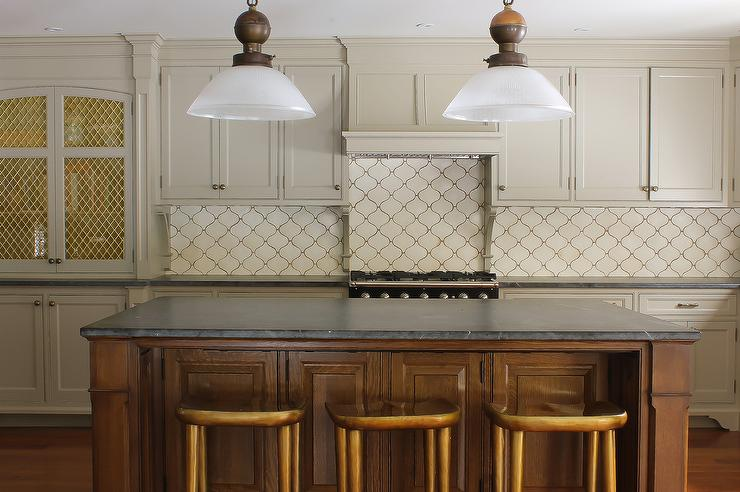 Cream Arabesque Kitchen Backsplash Design Ideas