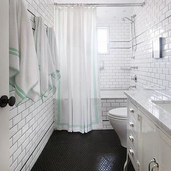White Bathroom With Black Hex Tiles Floor