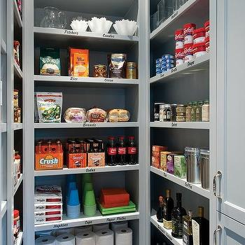 walk in pantry with gray shelves