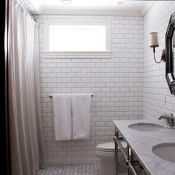 Bathroom With White Beveled Subway Tiles View Full Size Stunning Features Walls