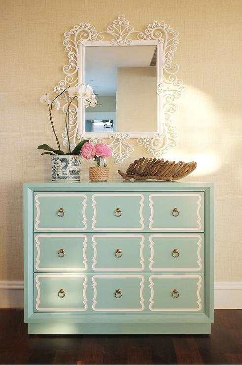 Awesome Mint Green Dorothy Draper Chest