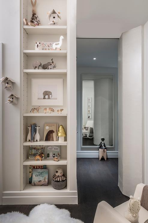 Nursery With Vertical Built In Bookshelf Transitional