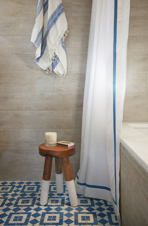 Amazing Bathroom Features Plank Walls Lined With A Towel Hook Draped In Blue Turkish Over Dip Dyed Stool Atop Mosaic Tiled Floor Next To