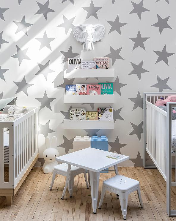 Silver Star Nursery Wallpaper Contemporary Nursery