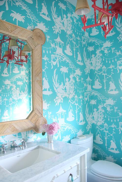 Turquoise tole powder room wallpaper asian bathroom for Turquoise wallpaper for bedroom