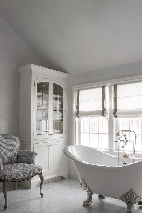 White and grey french bathrooms transitional bathroom for Grey and white bathroom decor